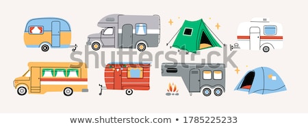 Caravan or camper van symbol vector illustration set. Stock photo © Bytedust
