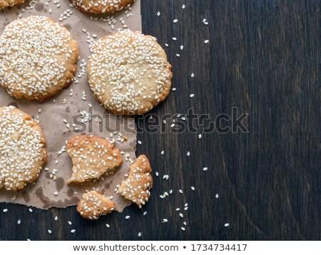 Fresh Chocolate Crispy Cookies with Sesame Stock photo © dariazu