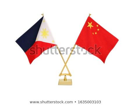 Kína Fülöp-szigetek miniatűr zászlók izolált fehér Stock fotó © tashatuvango