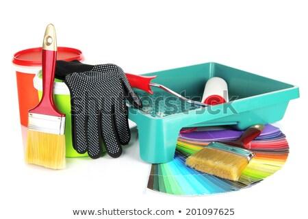 Сток-фото: синий · пластиковых · краской · дома · металл