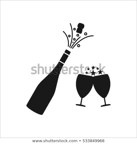 Foto stock: Champanhe · garrafa · óculos · vetor · explosivo · ornamento