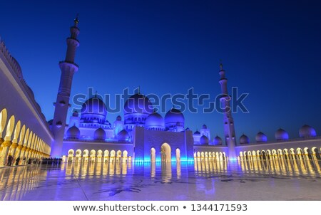 Part of famous Abu Dhabi Sheikh Zayed Mosque by night Stock photo © vwalakte