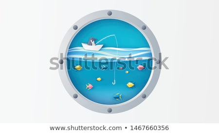 Ship porthole with underwater view, vector illustration Stock photo © carodi