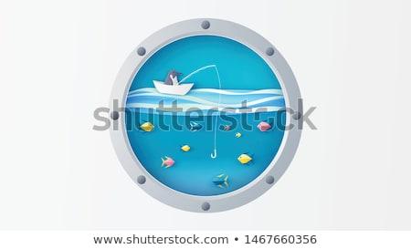 Ship porthole with underwater view, vector illustration Stock photo © carodi