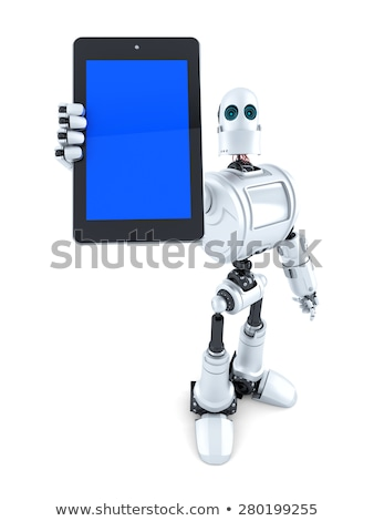 Robot showing touchscreen phone. Isolated. Contains clipping path Stock photo © Kirill_M