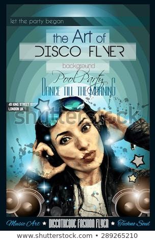 Attractive Club Disco Flyer with a Girl Dj listening to music Stock photo © DavidArts