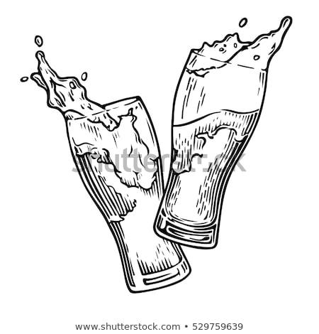 Foto stock: Rabisco · cerveja · óculos · esboço · ilustração · excelente