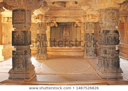 Decorative stone pillar in hampi ruins Stock photo © Juhku