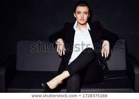 Kéjes lány kanapé alsónemű élvezet nő Stock fotó © ssuaphoto