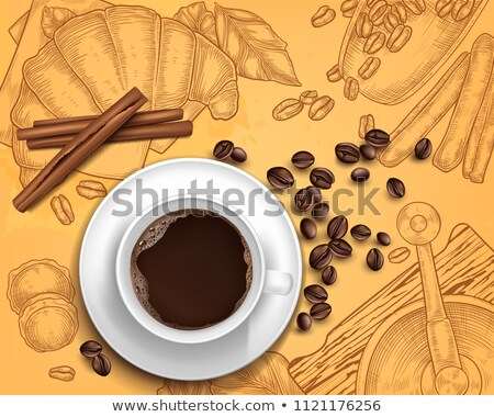 cup of coffee and grains top view vector illustration Stock photo © konturvid