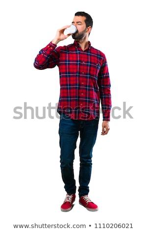 áll csésze kávé üzletember kék kabát Stock fotó © manera