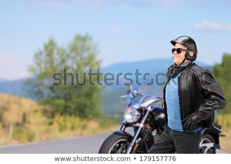 legal · velho · casual · homem · jaqueta · de · couro - foto stock © feedough