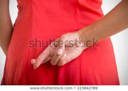 ujjak · mögött · hát · lány · keresztek · nő - stock fotó © deandrobot