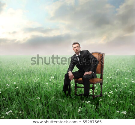 Businessman sitting  on the meadow and thinking stock photo © Paha_L