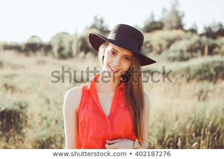 Foto stock: Sensual · mulher · lábios · vermelhos · sensual · elegante · blusa