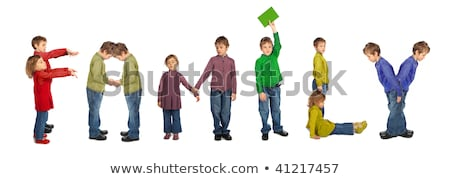 boy and girl making word FAMILY, collage Stock photo © Paha_L