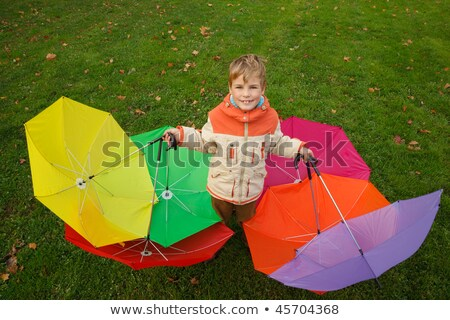 Boy in autumn park, in environment of multi-coloured umbrellas. Top view. Horizontal format. Stock photo © Paha_L
