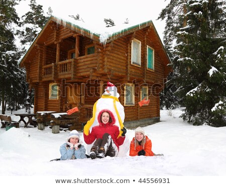 three girls with snowman and winter house collage stock photo © paha_l