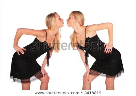 dobrar · beijo · dois · feliz · meninas · beijando - foto stock © paha_l