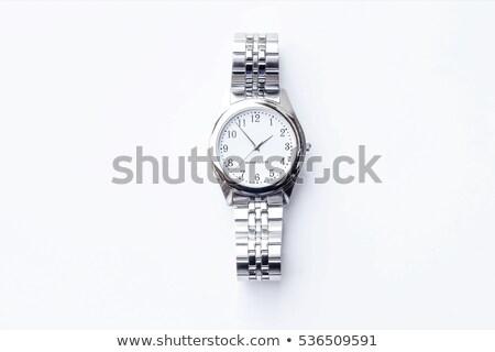 isolado · metálico · azul · mãos · mão · relógio - foto stock © IvanC7