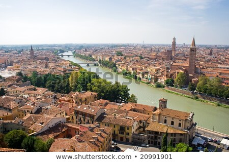 Beautiful View Of Old Houses And River In Verona Foto d'archivio © Sailorr