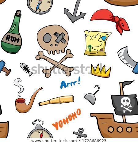 Foto stock: Pirata · pássaro · garrafa · rum · ilustração · mar
