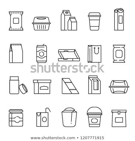Doboz csomag ikon szimbólum illusztráció terv Stock fotó © kiddaikiddee
