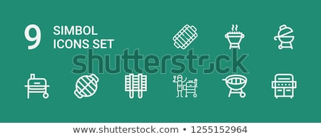 Grilled sausages on grate for barbecue line icon. Stock photo © RAStudio