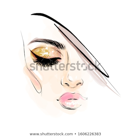 belle · femme · corail · lèvres · belle · jeune · femme · longtemps - photo stock © svetography