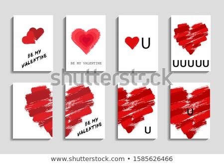Kırmızı beyaz valentine kalpler Stok fotoğraf © AvHeertum
