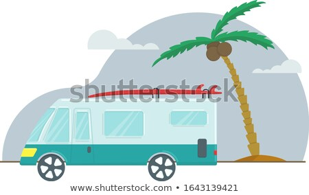 Summer vacation journey in retro car next to sea Stock photo © cienpies