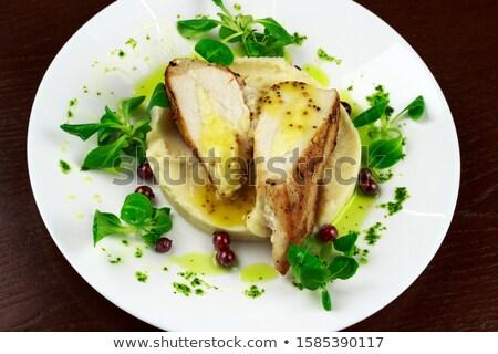 Csirkemell krumpli szeletek pörkölt hús paradicsom Stock fotó © Digifoodstock