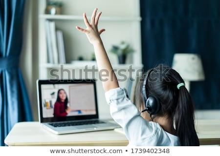Meisje mooie aandacht geïsoleerd witte hand Stockfoto © MichaelVorobiev