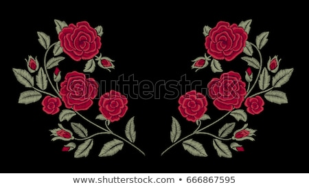 red roses and fabric heart stock photo © lana_m
