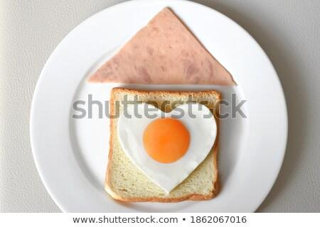 Eigengemaakt brood hart picknicktafel top Stockfoto © ozgur