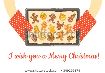 Christmas gingerbread cookies just baked on tray vector background Stock photo © vectorikart