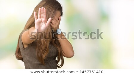 Foto stock: Portrait Of A Woman With Covered Eyes