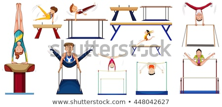 Vrouw gymnastiek evenwicht bar illustratie sport Stockfoto © bluering