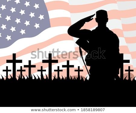 amerikai · katona · áll · amerikai · zászló · illusztráció · férfi - stock fotó © popaukropa