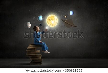 女の子 · 図書 · 白 · 少女 - ストックフォト © alphaspirit