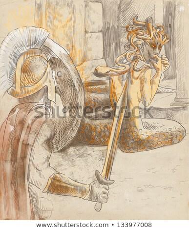 roman warrior hand draw stock photo © doomko