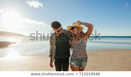 çift · sevmek · plaj · altın · ışık · güneş - stok fotoğraf © bank215