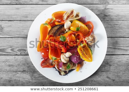 Top down view of grilled veggies on plate Stock photo © ozgur