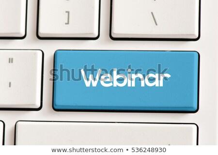 teclado · webinar · botão · azul · educação - foto stock © oakozhan
