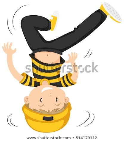 Pequeno menino cabeça girar ilustração criança Foto stock © bluering