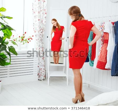 menina · vestido · quem · espelho · feliz · bonito - foto stock © ssuaphoto