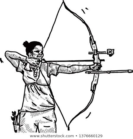 лучник подготовки лук эскиз икона вектора Сток-фото © RAStudio