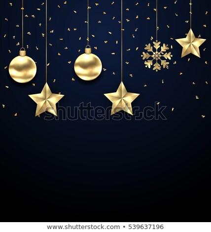 christmas · donkere · gouden · groet · banner · illustratie - stockfoto © smeagorl