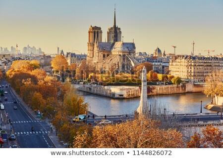 Párizsi reggel tájkép kilátás felhőkarcolók Eiffel-torony Stock fotó © Givaga