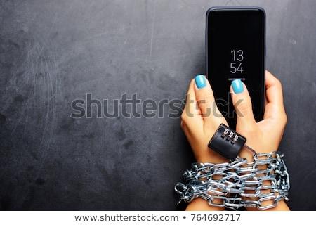 Telefon jóképű gyerek mobiltelefon internet iskola Stock fotó © pazham